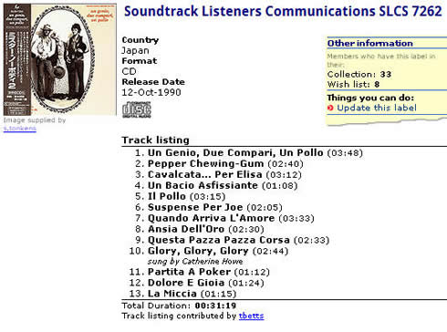 Soundtrack Listeners Communications SLCS 7262